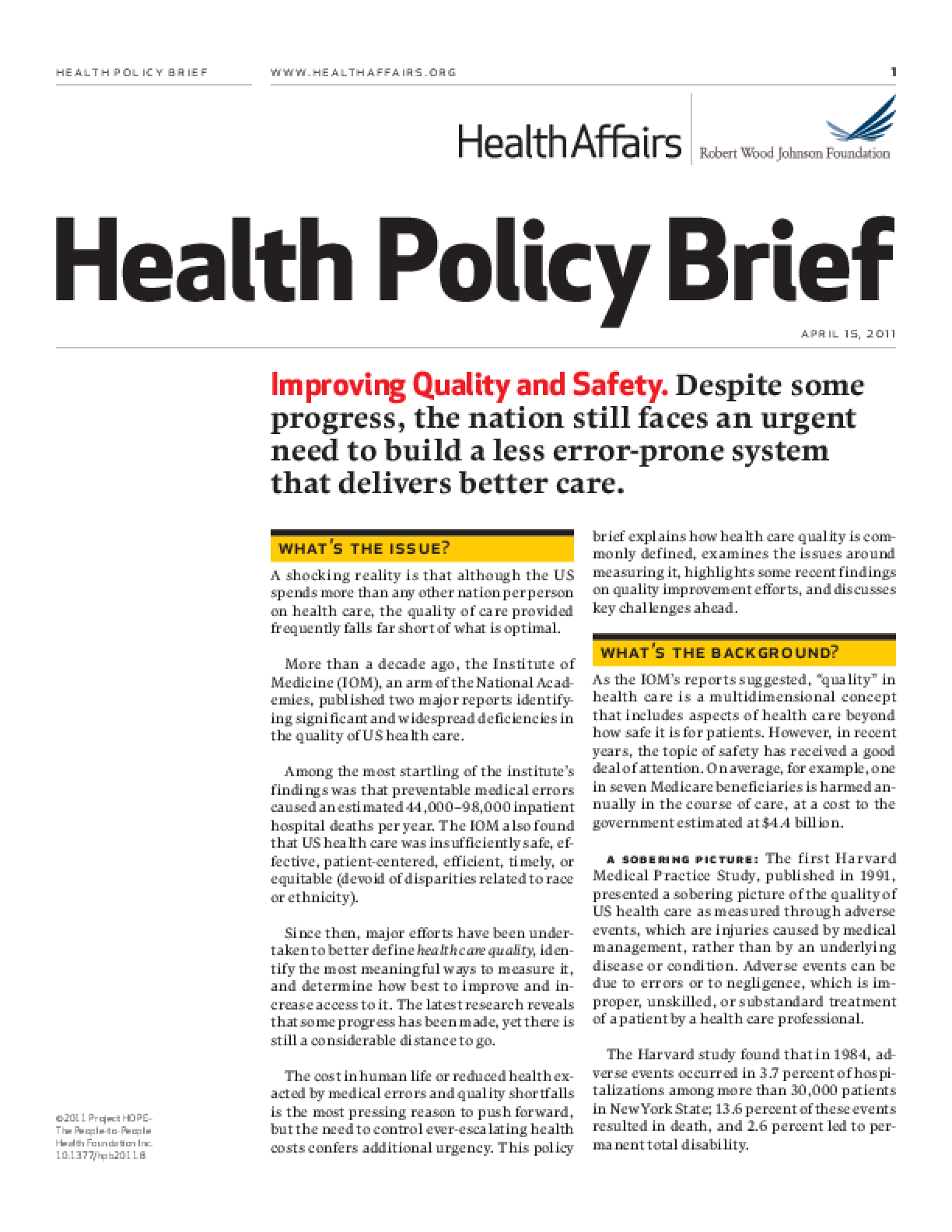 Health Affairs/RWJF Health Policy Brief: Improving Quality and Safety