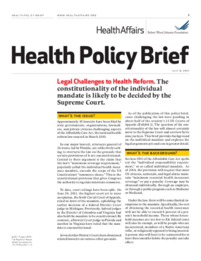Health Affairs/RWJF Health Policy Brief: Legal Challenges to Health Reform