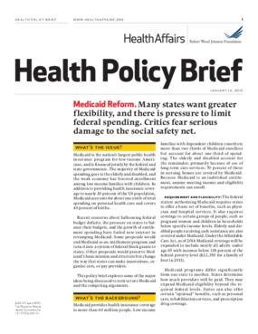 Health Affairs/RWJF Health Policy Brief: Medicaid Reform