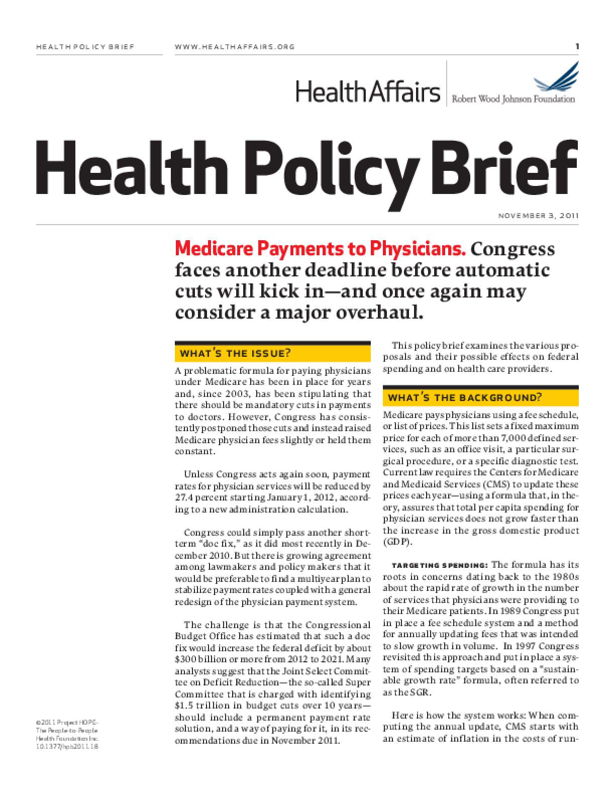 Health Affairs/RWJF Health Policy Brief: Medicare Payments to Physicians