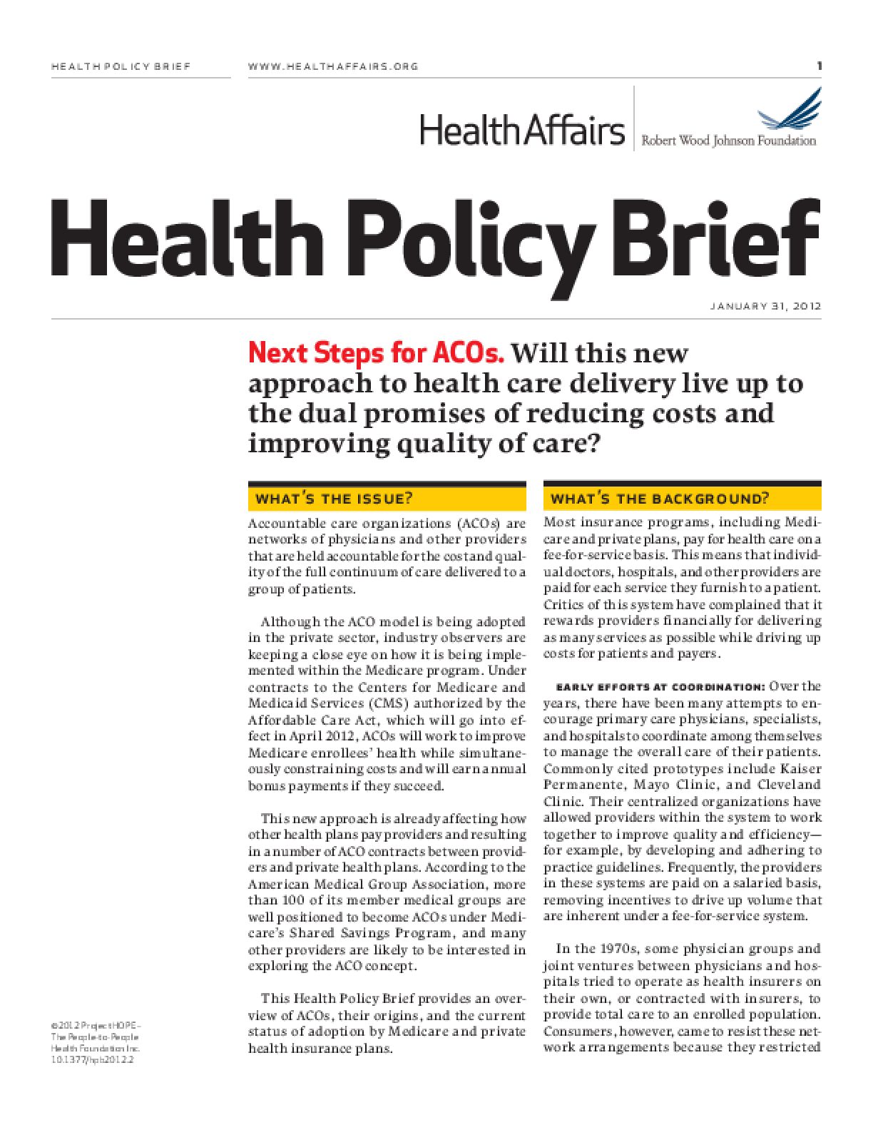 Health Affairs/RWJF Health Policy Brief: Next Steps for ACOs