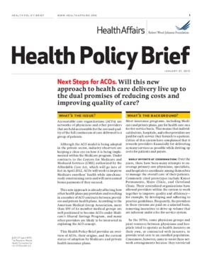 Health Affairs/RWJF Health Policy Brief: Next Steps for ACOs