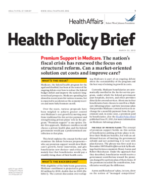 Health Affairs/RWJF Health Policy Brief: Premium Support in Medicare
