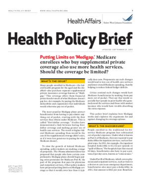 Health Affairs/RWJF Health Policy Brief: Putting Limits on 'Medigap'