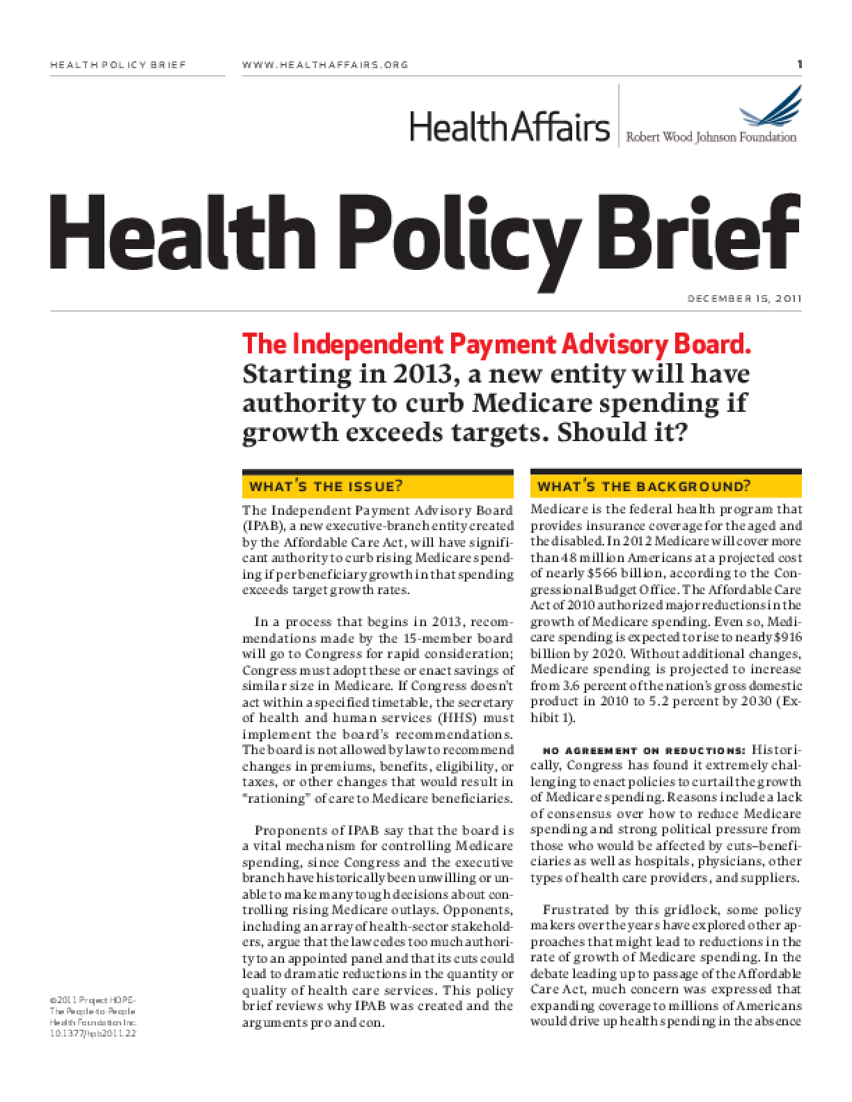 Health Affairs/RWJF Health Policy Brief: The Independent Payment Advisory Board