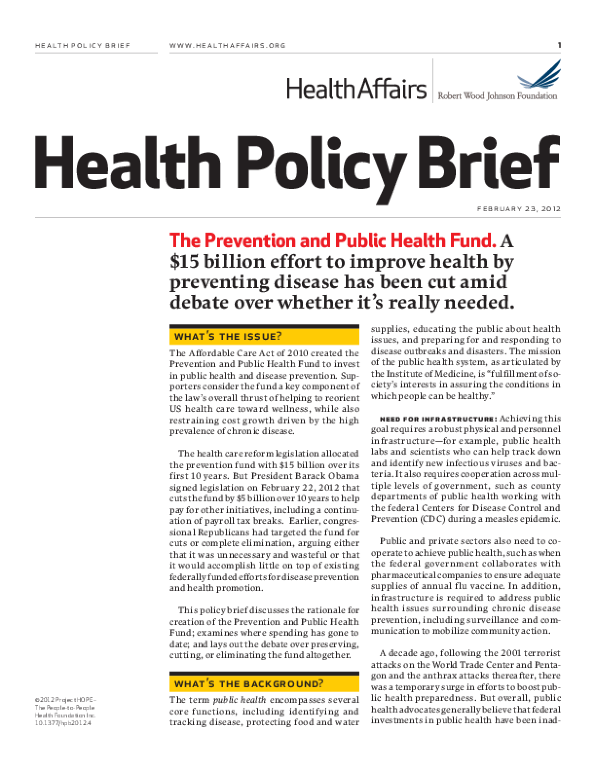 Health Affairs/RWJF Health Policy Brief: The Prevention and Public Health Fund