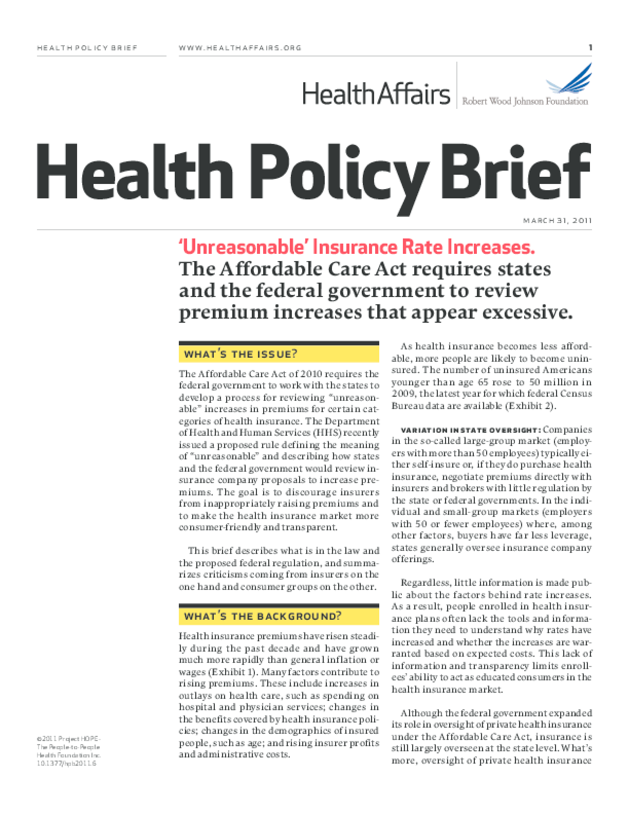 Health Affairs/RWJF Health Policy Brief: 'Unreasonable' Insurance Rate Increases