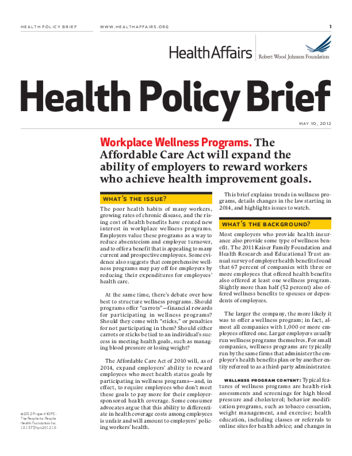 Health Affairs/RWJF Health Policy Brief: Workplace Wellness Programs