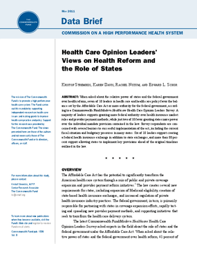 Health Care Opinion Leaders' Views on Health Reform and the Role of States