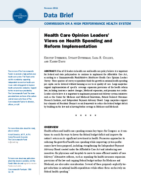 Health Care Opinion Leaders' Views on Health Spending and Reform Implementation