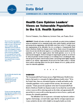 Health Care Opinion Leaders' Views on Vulnerable Populations in the U.S. Health System