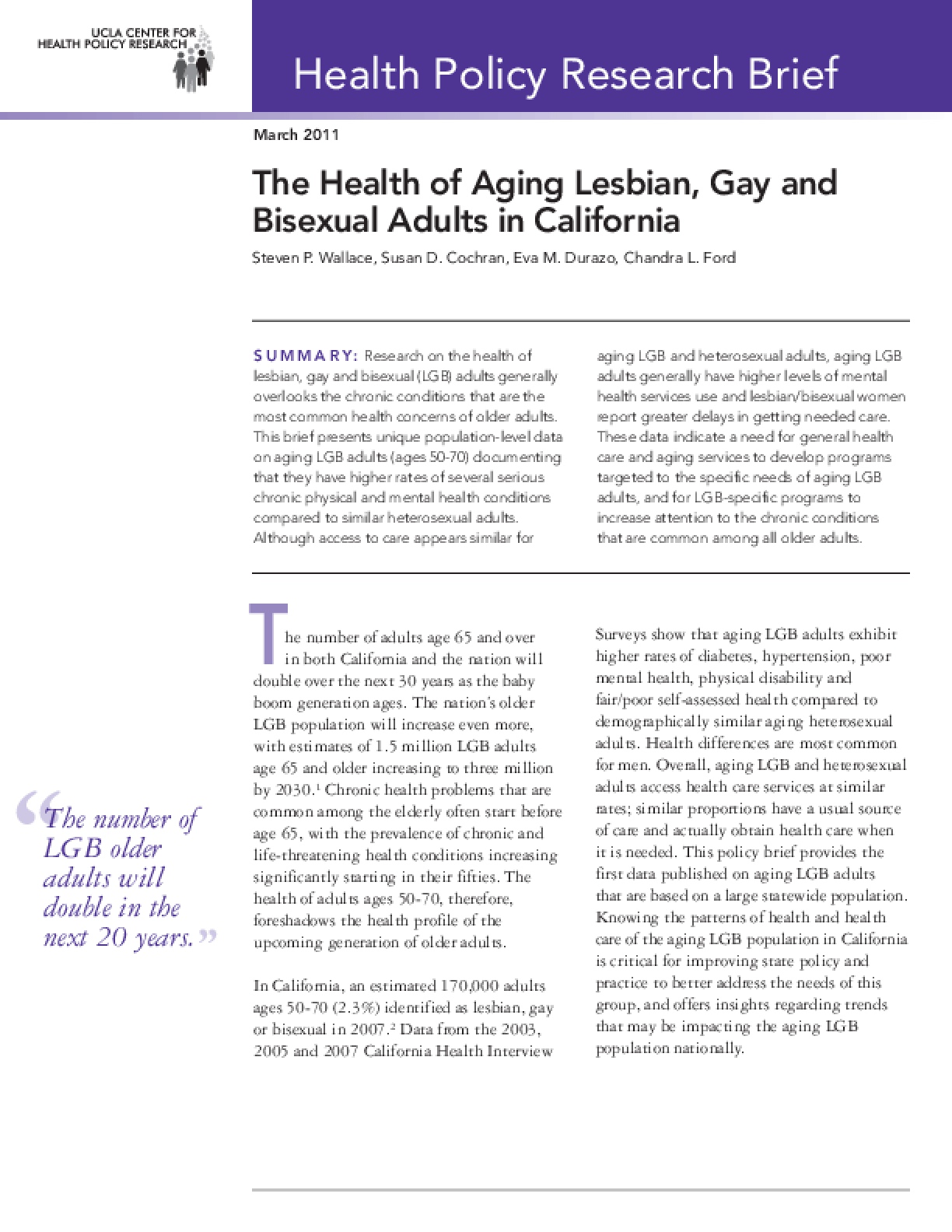 The Health of Aging Lesbian, Gay and Bisexual Adults in California
