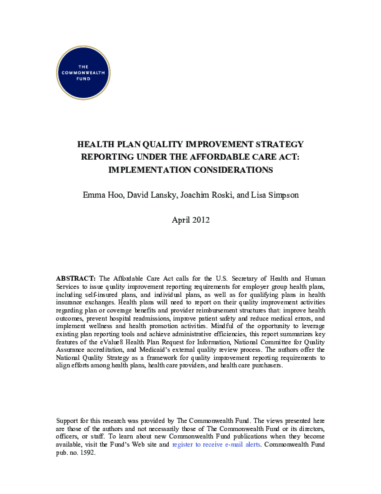 Health Plan Quality Improvement Strategy Reporting Under the Affordable Care Act: Implementation Considerations