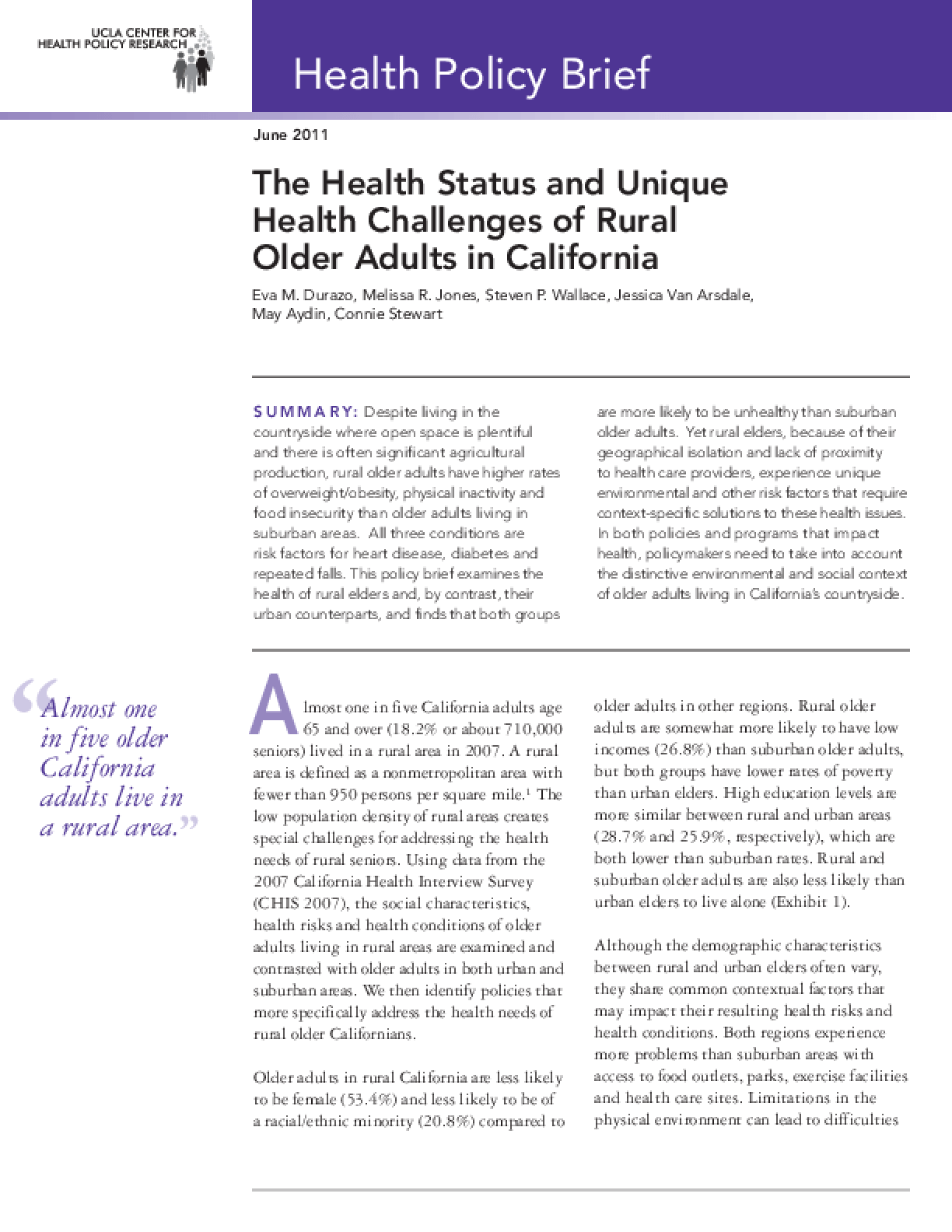 The Health Status and Unique Health Challenges of Rural Older Adults in California