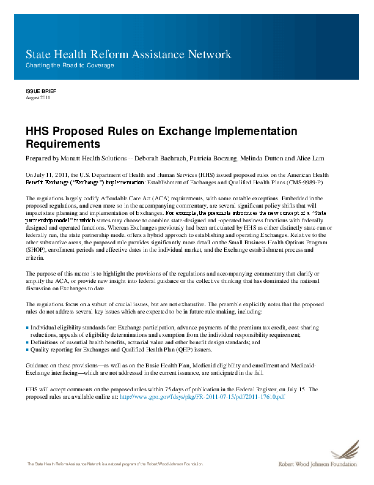 HHS Proposed Rules on Exchange Implementation Requirements