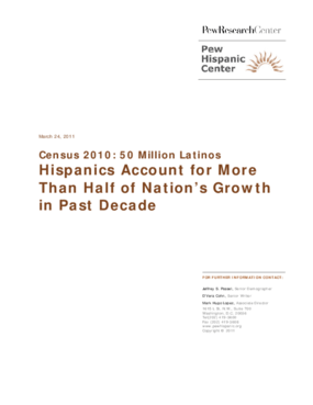 Hispanics Account for More Than Half of Nation's Growth in Past Decade