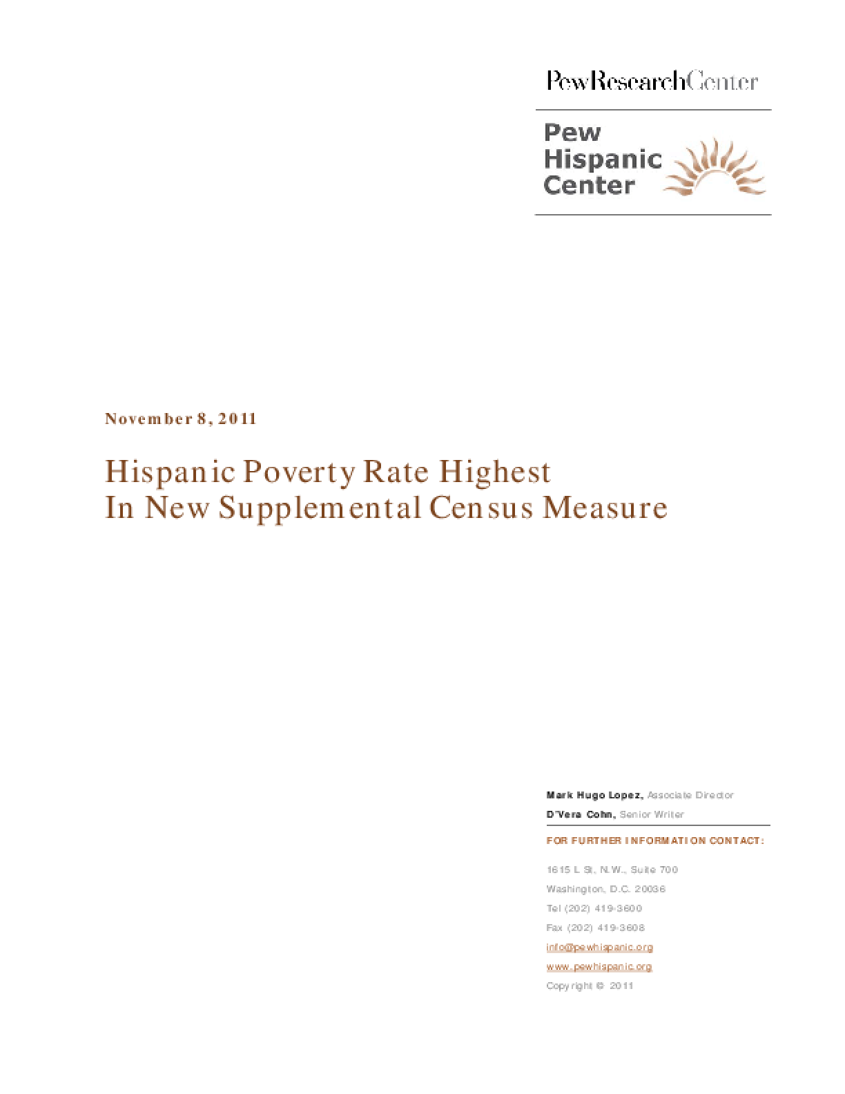 Hispanic Poverty Rate Highest in New Supplemental Census Measure