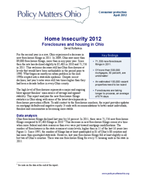 Home Insecurity 2012: Foreclosures and Housing in Ohio