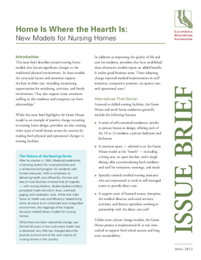 Home Is Where the Hearth Is: New Models for Nursing Homes