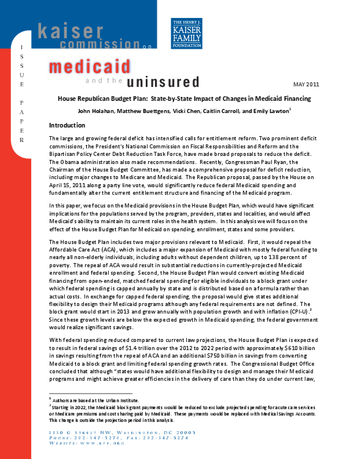 House Republican Budget Plan: State-by-State Impact of Changes in Medicaid Financing