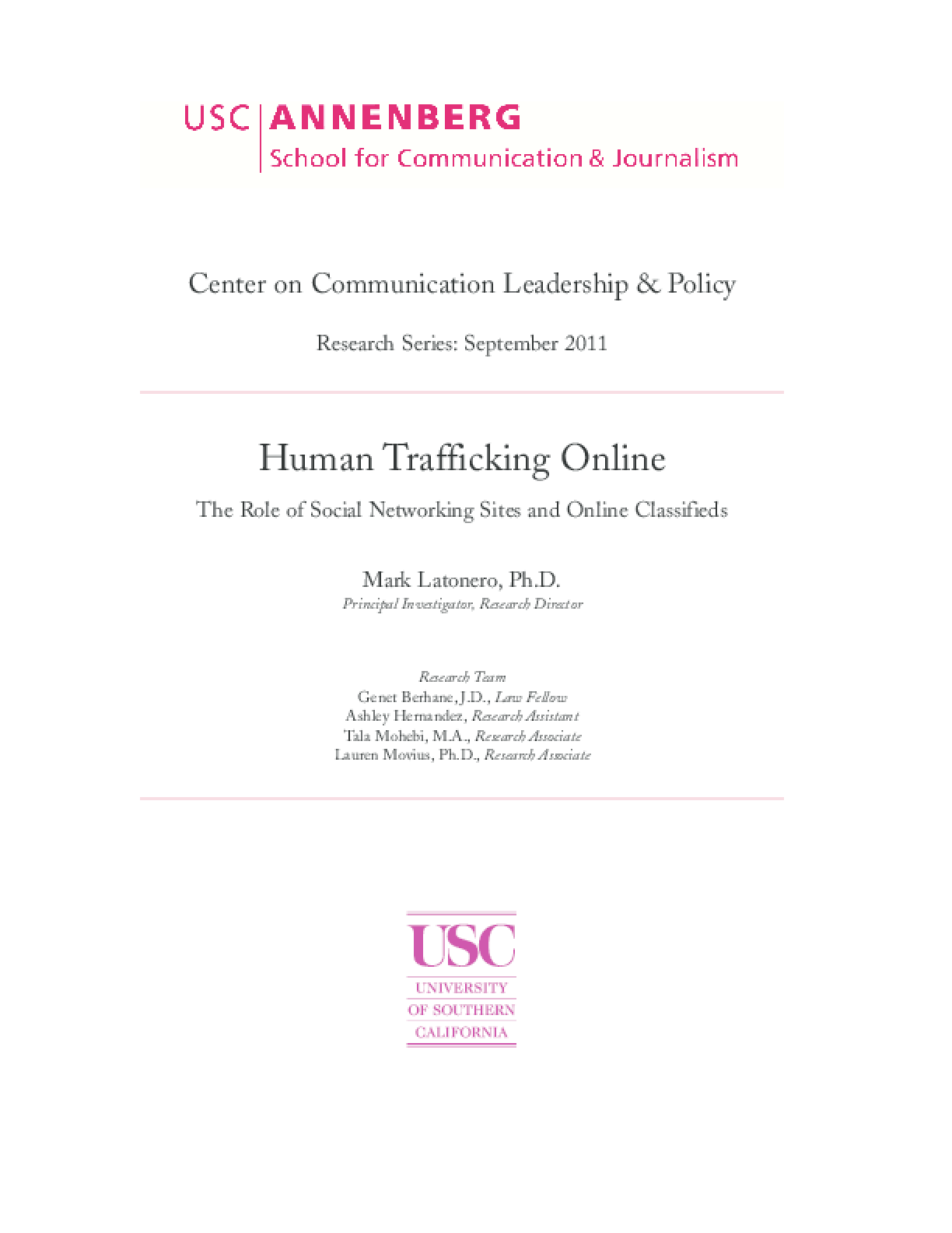 Human Trafficking Online: The Role of Social Media and Online Classifieds