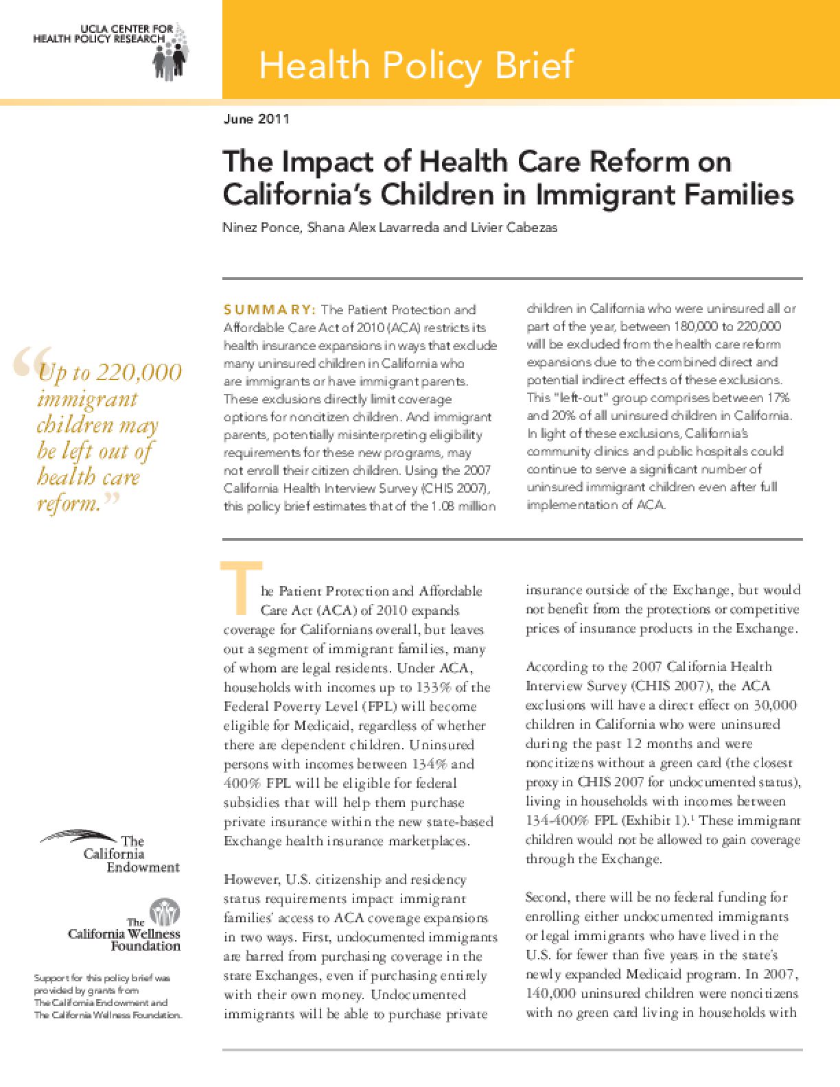The Impact of Health Care Reform on California's Children in Immigrant Families