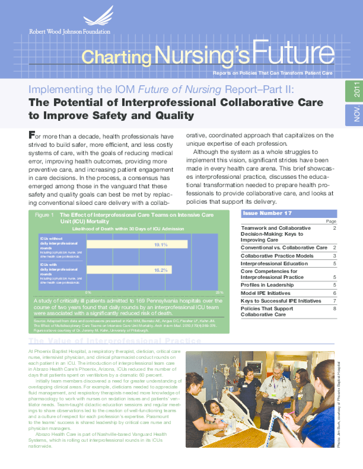 Implementing the IOM Future of Nursing Report Part II: The Potential of Interprofessional Collaborative Care to Improve Safety and Quality