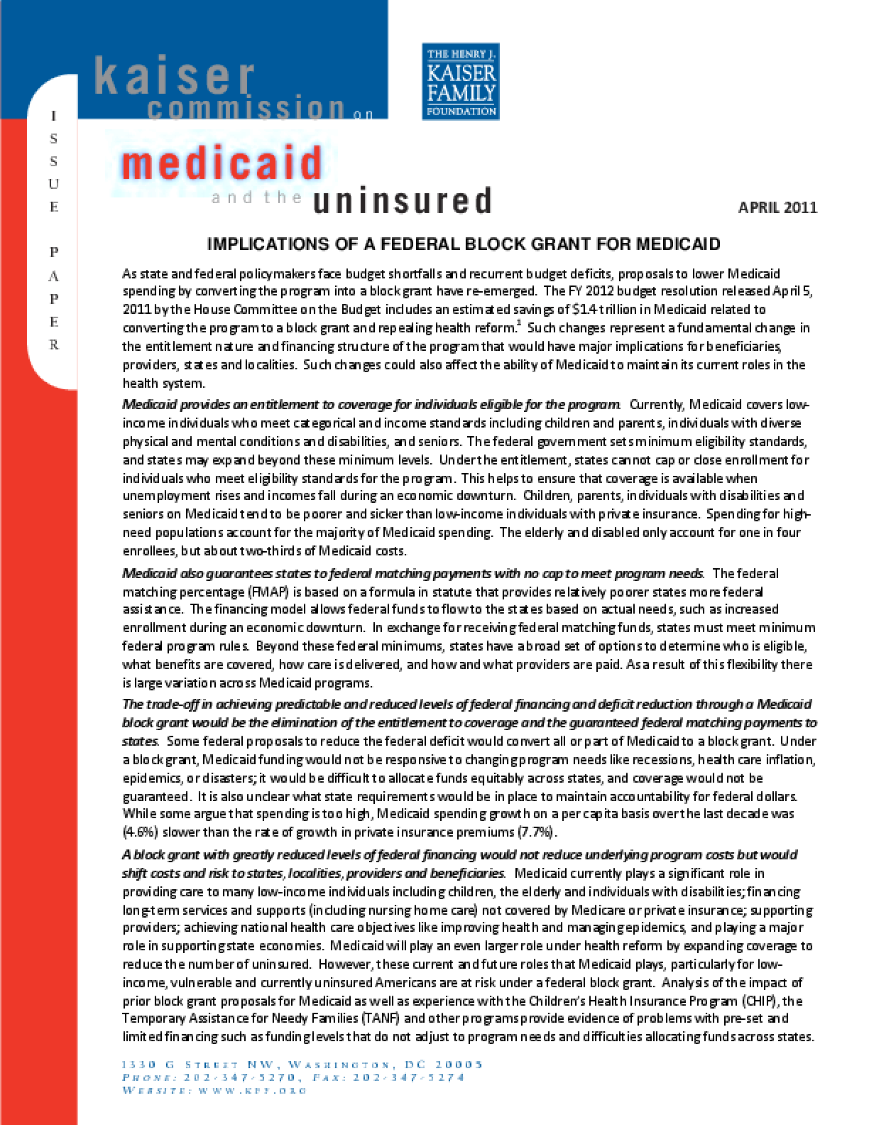Implications of a Federal Block Grant for Medicaid