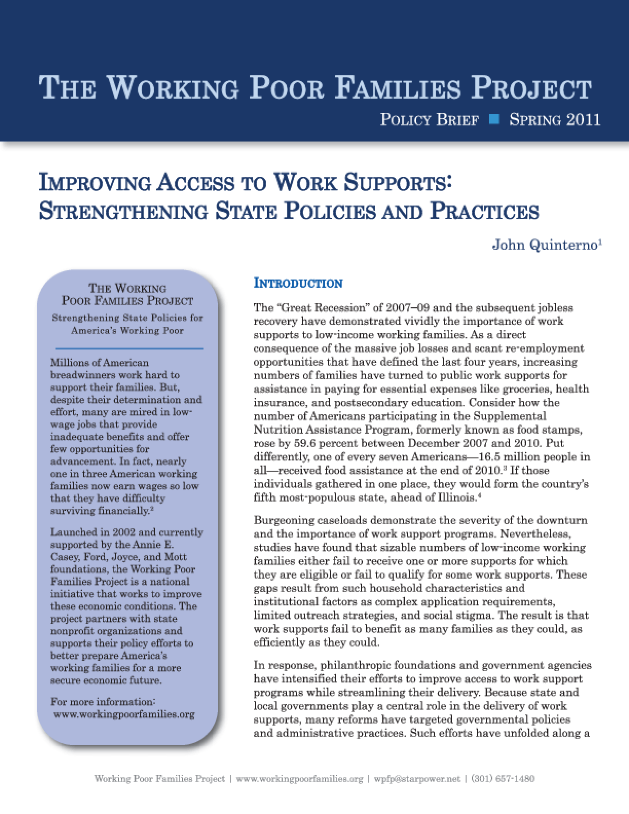 Improving Access to Work Supports: Strengthening State Policies and Practices