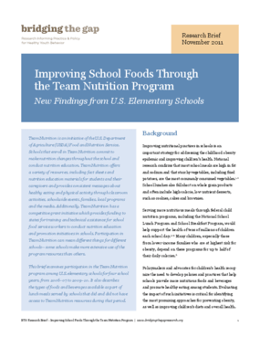 Improving School Foods Through the Team Nutrition Program: New Findings From U.S. Elementary Schools