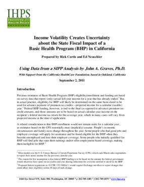 Income Volatility Creates Uncertainty About the State Fiscal Impact of a Basic Health Program (BHP) in California