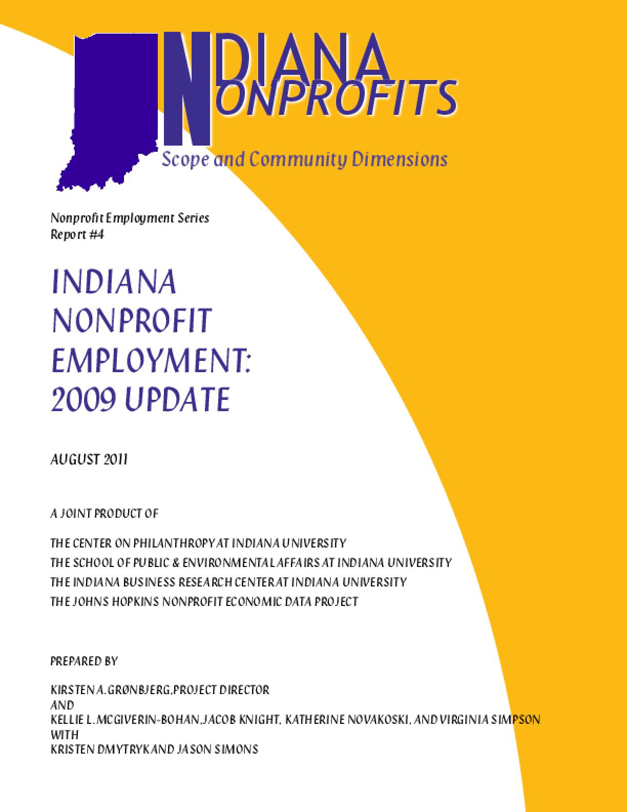Indiana Nonprofit Employment: 2009 Update