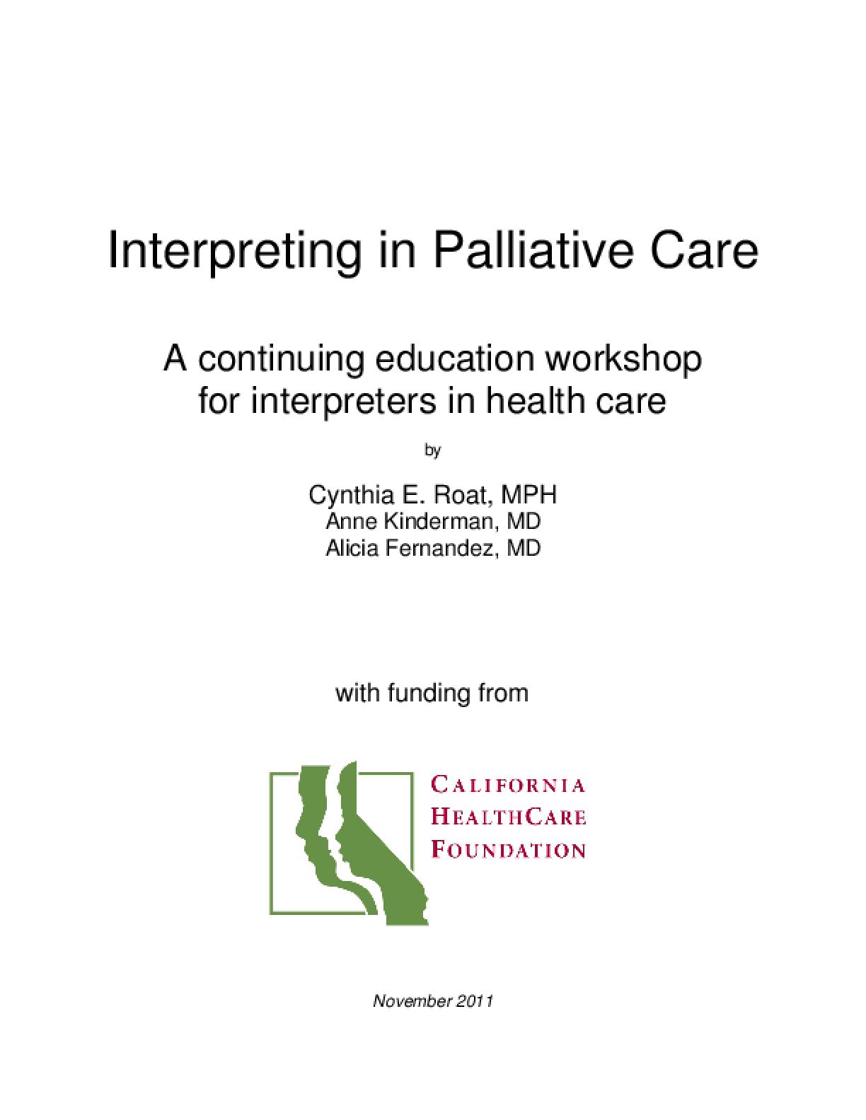 Interpreting in Palliative Care: A Continuing Education Workshop