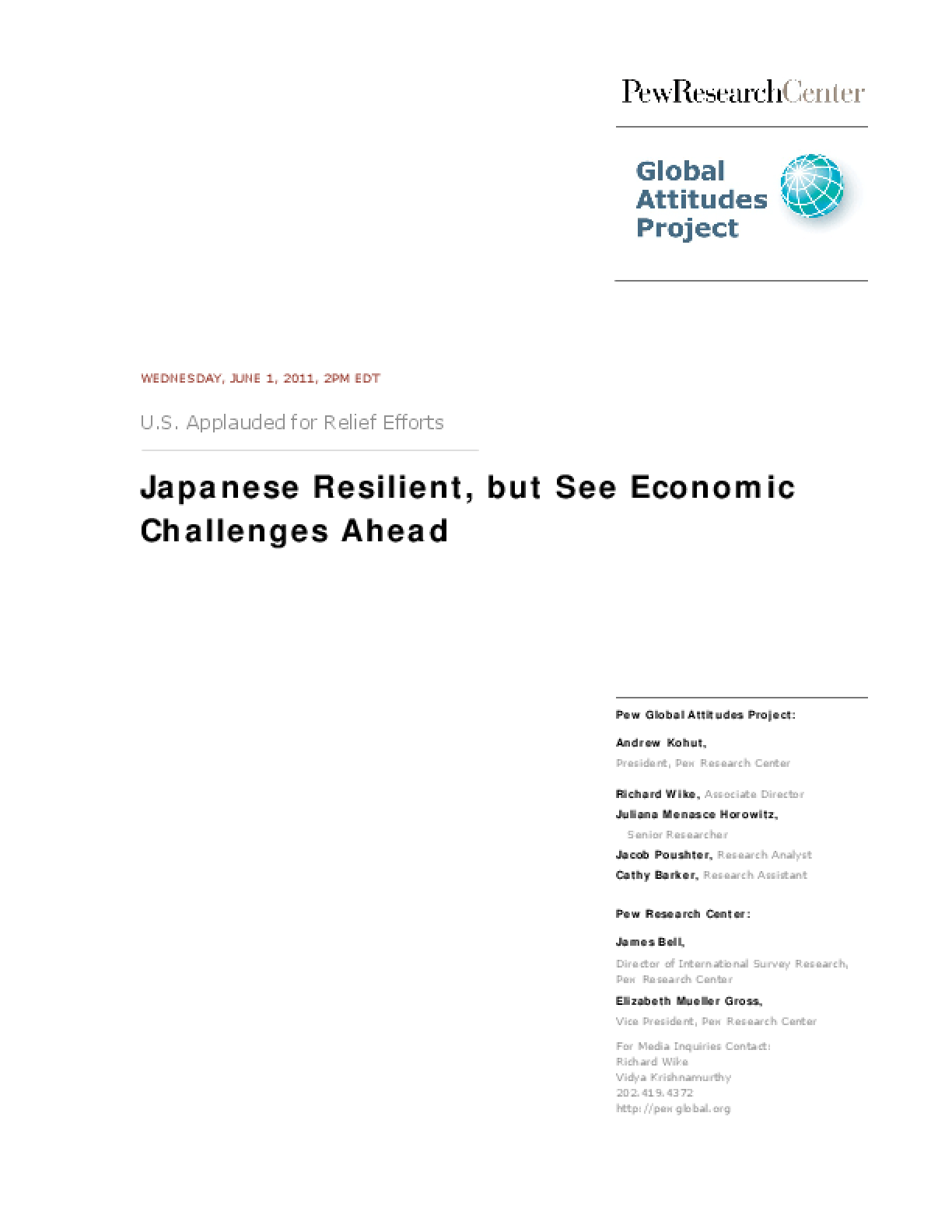 Japanese Resilient, but See Economic Challenges Ahead