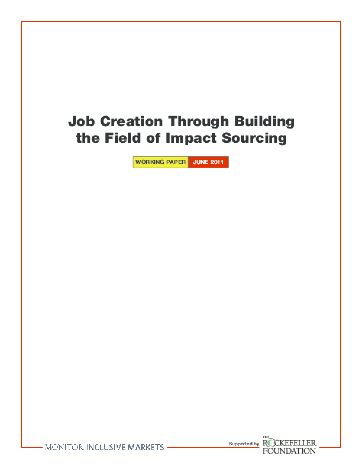 Job Creation Through Building the Field of Impact Sourcing