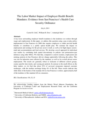 The Labor Market Impact of Employer Health Benefit Mandates: Evidence from San Francisco's Health Care Security Ordinance