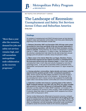 The Landscape of Recession: Unemployment and Safety Net Services Across Urban and Suburban America