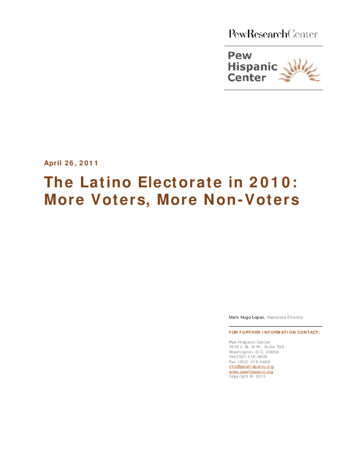 The Latino Electorate in 2010: More Voters, More Non-Voters