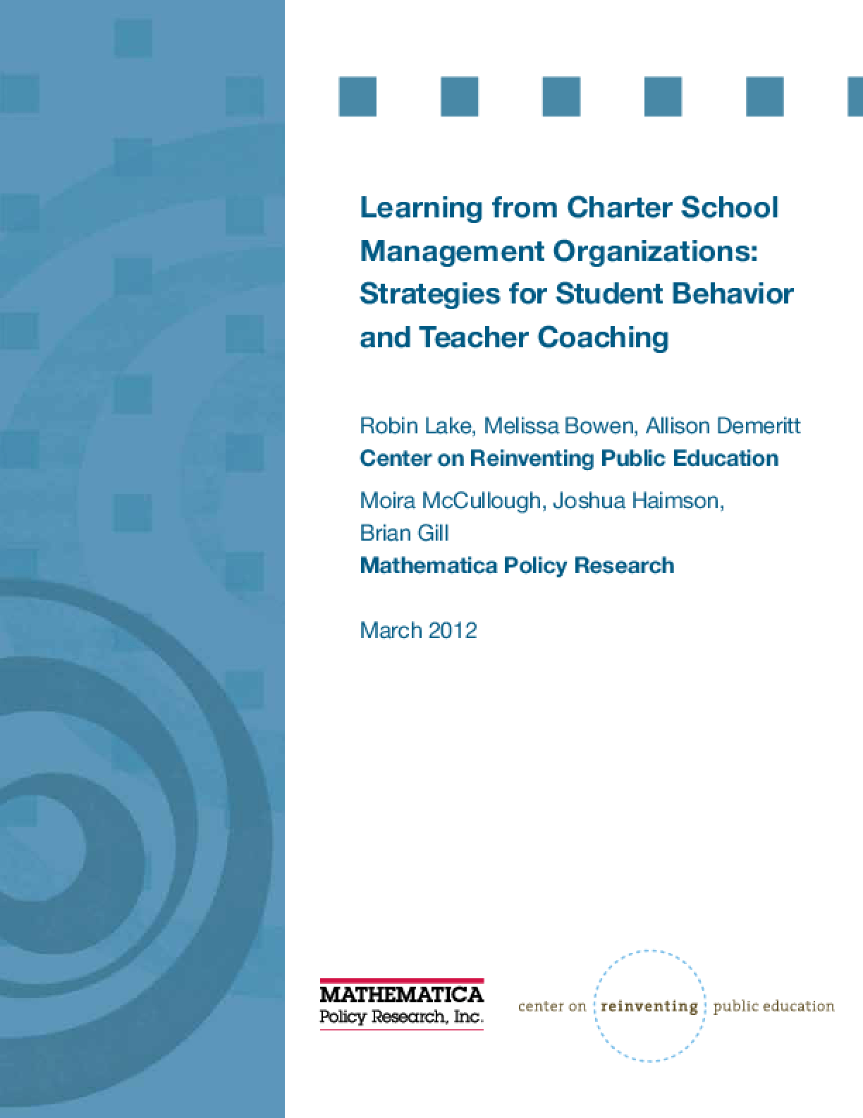 Learning From Charter School Management Organizations: Strategies for Student Behavior and Teacher Coaching