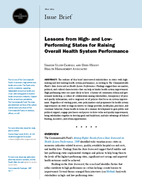 Lessons From High- and Low-Performing States for Raising Overall Health System Performance