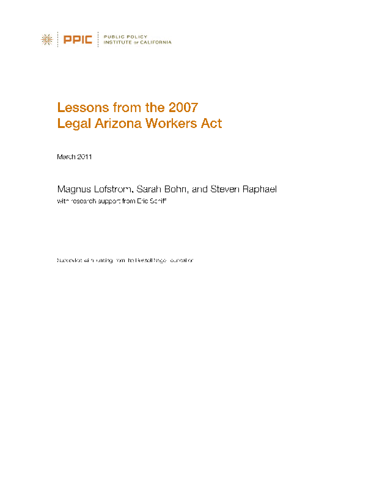 Lessons From the 2007 Legal Arizona Workers Act