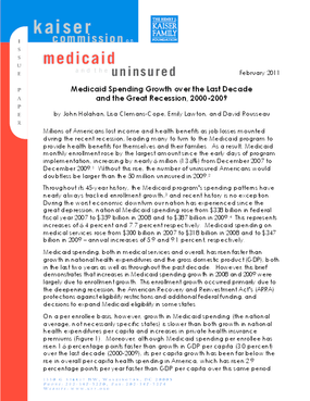 Medicaid Spending Growth Over the Last Decade and the Great Recession, 2000-2009