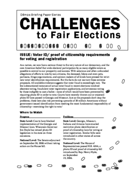 Challenges to Fair Elections 1: Voter ID