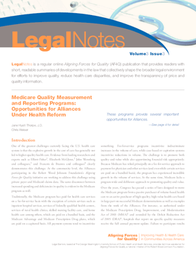 Medicare Quality Measurement and Reporting Programs: Opportunities for Alliances Under Health Reform