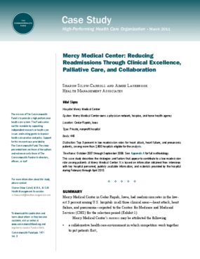 Mercy Medical Center: Reducing Readmissions Through Clinical Excellence, Palliative Care, and Collaboration
