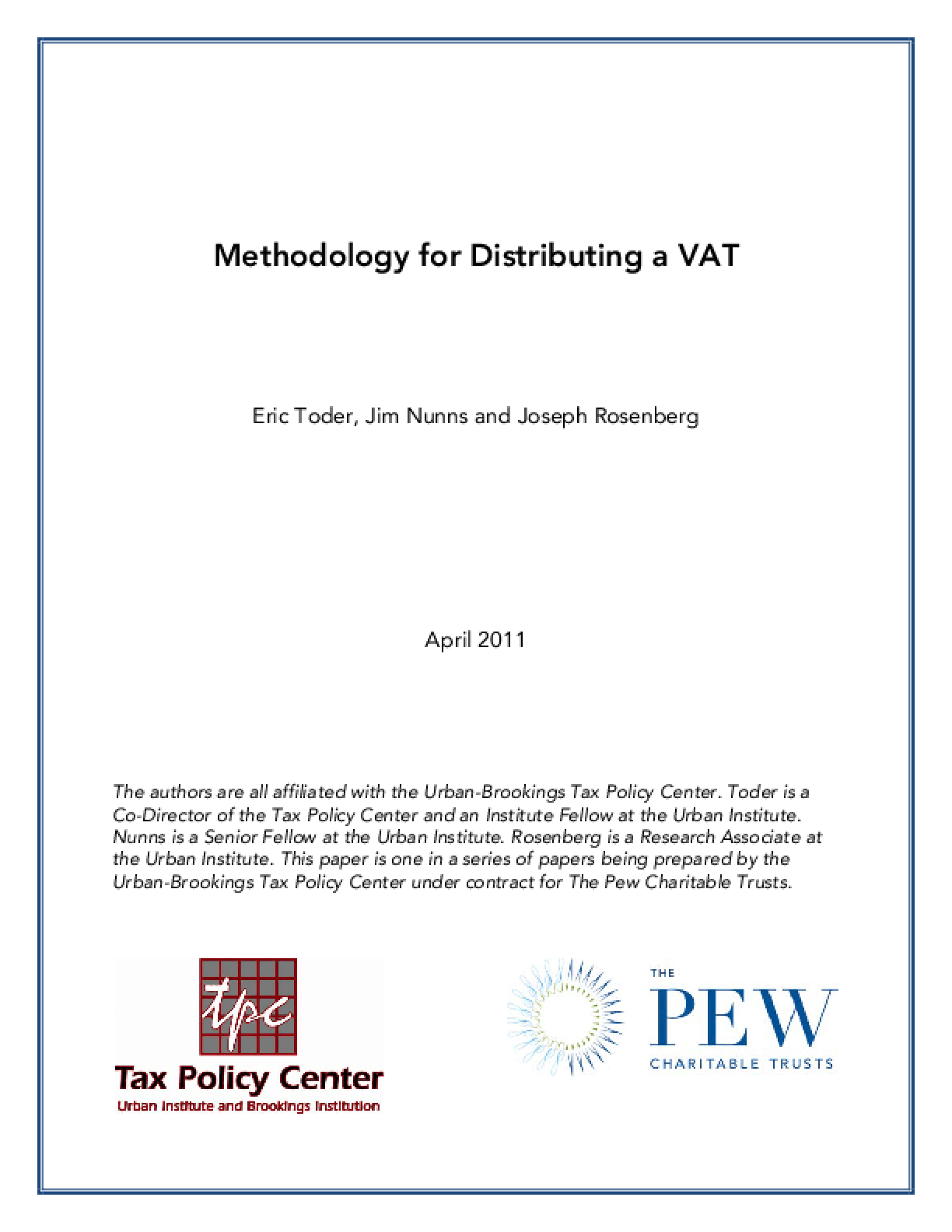 Methodology for Distributing a VAT