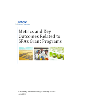 Metrics and Key Outcomes Related to SFAz Grant Programs