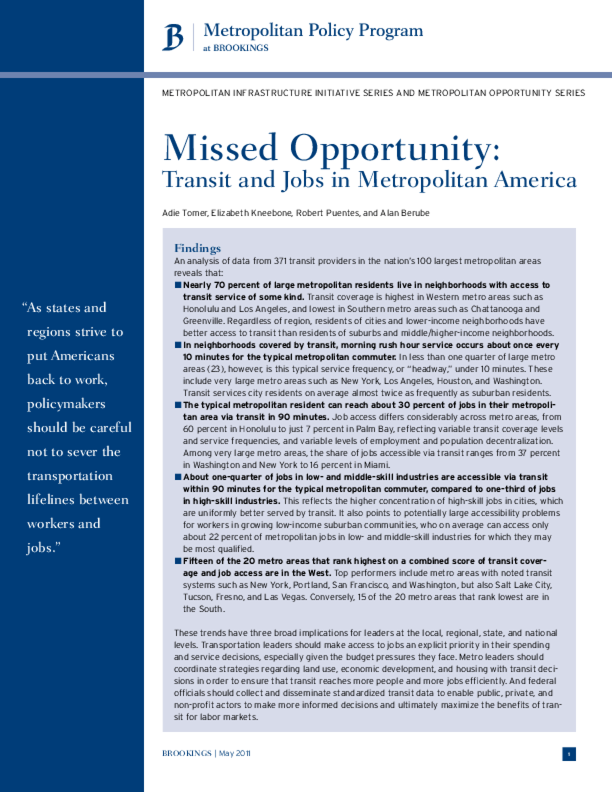 Missed Opportunity: Transit and Jobs in Metropolitan America
