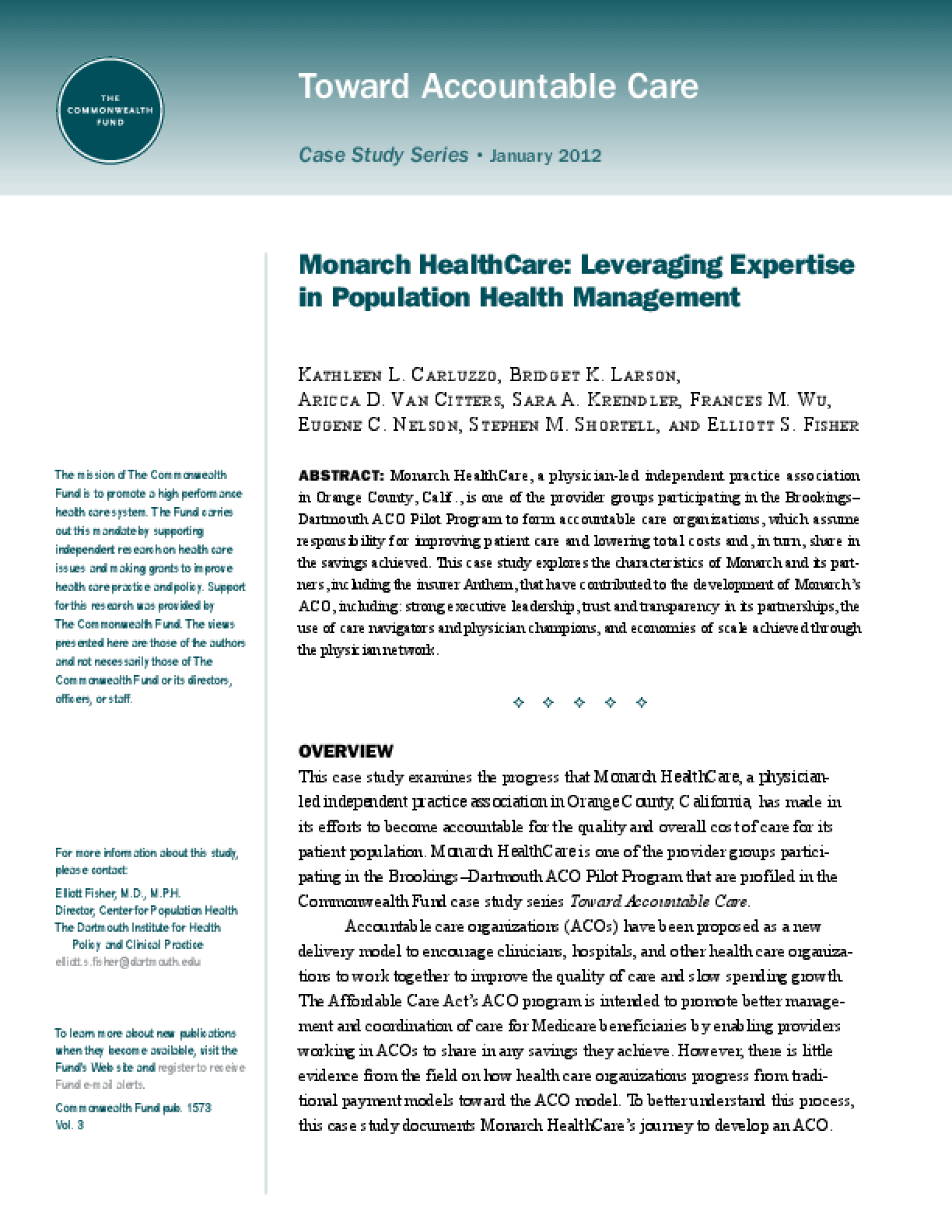 Monarch HealthCare: Leveraging Experience in Population Health Management to Attain Accountable Care
