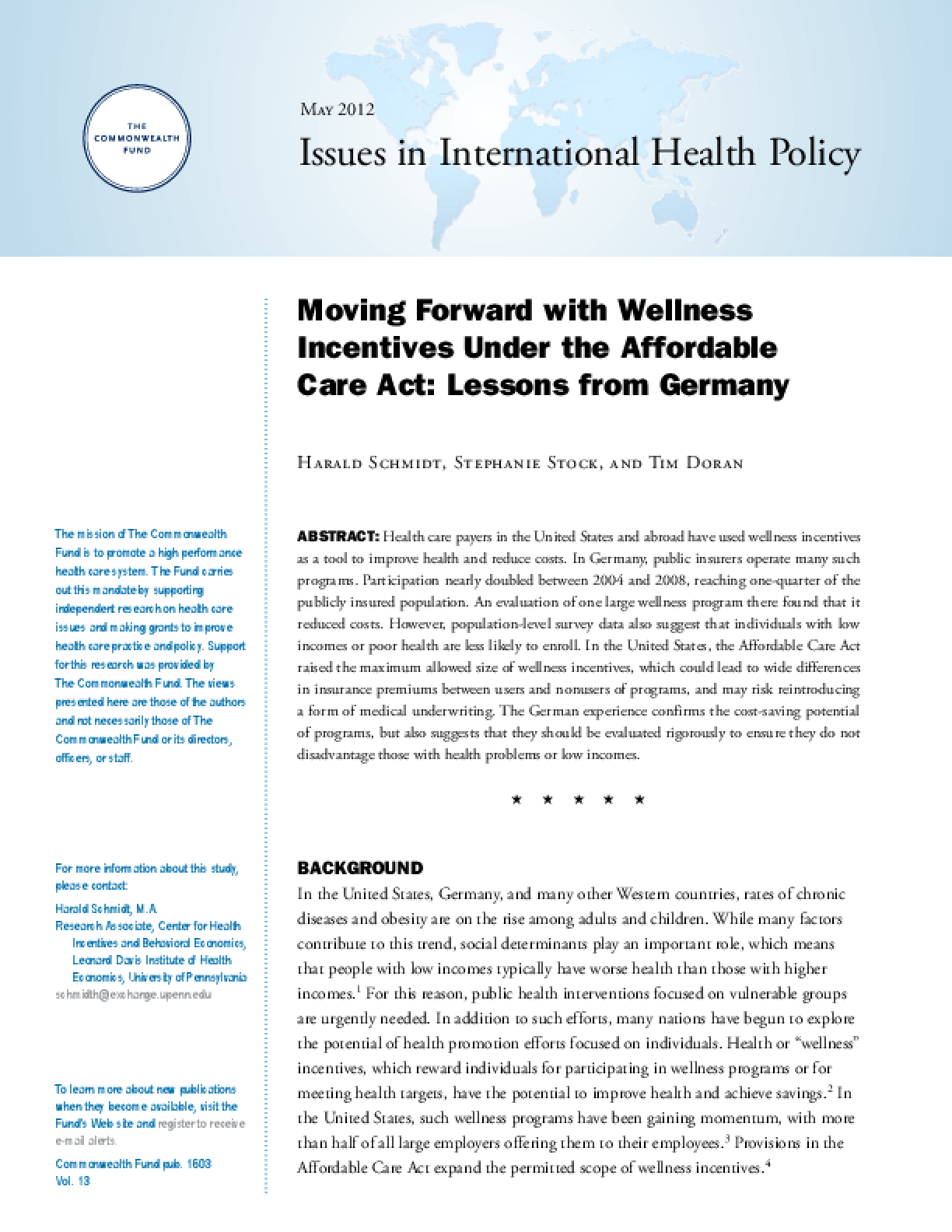 Moving Forward With Wellness Incentives Under the Affordable Care Act: Lessons From Germany